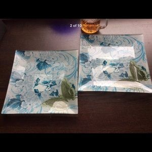(2) Butterfly 🦋 glass plates candle verity tray